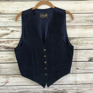 Vintage 90s Navy Blue Suede Leather Boho Vest